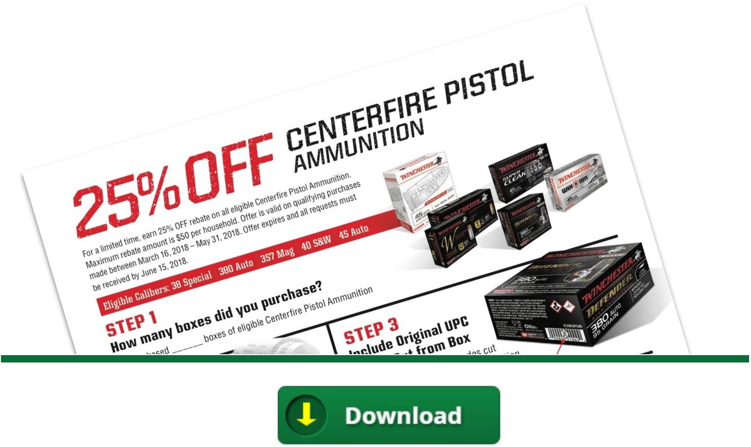 Winchester Centerfire Pistol Ammo Rebate - Spring 2018
