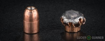 View from up above of fired Remington .357 Sig bullets compared to an unfired round