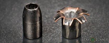 Line-up of Barnes .40 S&W (Smith & Wesson) ammunition - fired vs. unfired