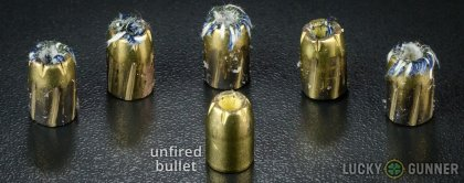 Side by side comparison of an unfired Magtech .40 S&W (Smith & Wesson) bullet vs. the unfired round