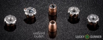 View from up above of fired Speer .32 Auto (ACP) bullets compared to an unfired round