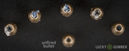 Line-up of Magtech 9mm Luger (9x19) ammunition - fired vs. unfired