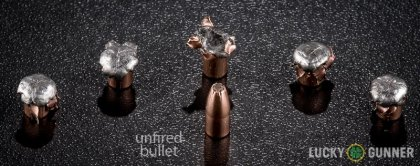Image displaying fired .22 Magnum (WMR) rounds compared to an unfired bullet
