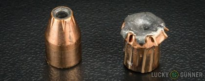 Side by side comparison of an unfired Fiocchi 9mm Luger (9x19) bullet vs. the unfired round