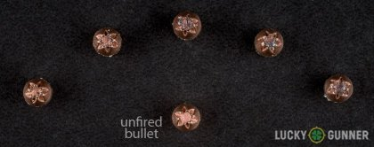 Side by side comparison of an unfired Hornady .25 Auto (ACP) bullet vs. the unfired round