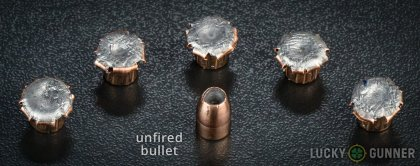 Side by side comparison of an unfired Corbon 9mm Luger (9x19) bullet vs. the unfired round
