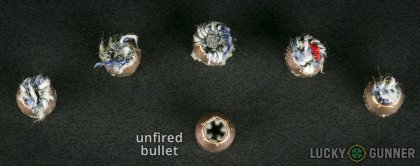 Side by side comparison of an unfired PMC .380 Auto (ACP) bullet vs. the unfired round