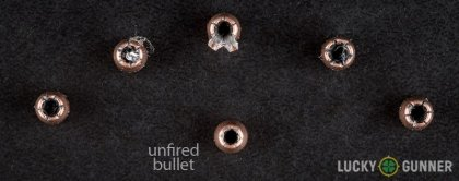 View from up above of fired Speer .25 Auto (ACP) bullets compared to an unfired round
