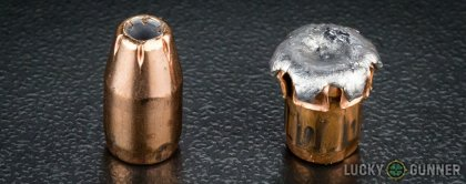 Image displaying fired 9mm Luger (9x19) rounds compared to an unfired bullet