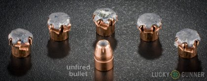 Image displaying fired .357 Magnum rounds compared to an unfired bullet