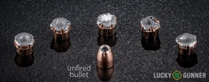 Side by side comparison of an unfired Fiocchi .32 Auto (ACP) bullet vs. the unfired round
