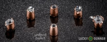 Line-up of Fiocchi .25 Auto (ACP) ammunition - fired vs. unfired