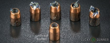 Side by side comparison of an unfired Remington .40 S&W (Smith & Wesson) bullet vs. the unfired round