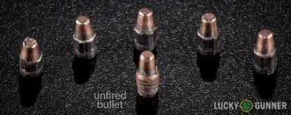 Line-up of Remington .22 Long Rifle (LR) ammunition - fired vs. unfired