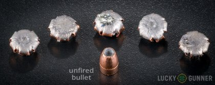 Line-up of Corbon .357 Magnum ammunition - fired vs. unfired