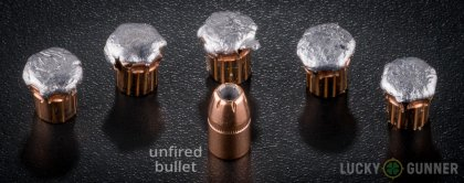 Line-up of Hornady .357 Magnum ammunition - fired vs. unfired