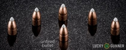 Line-up of Winchester .22 Magnum (WMR) ammunition - fired vs. unfired