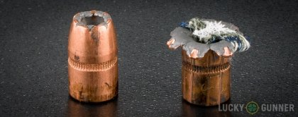 Side by side comparison of an unfired Speer .38 Special bullet vs. the unfired round