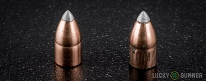 View from up above of fired Winchester .22 Magnum (WMR) bullets compared to an unfired round