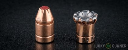 Side by side comparison of an unfired Hornady .357 Sig bullet vs. the unfired round