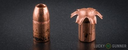 View from up above of fired Federal .357 Magnum bullets compared to an unfired round