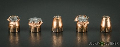 Line-up of Hornady .380 Auto (ACP) ammunition - fired vs. unfired