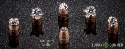 Image displaying fired .327 Federal Magnum rounds compared to an unfired bullet