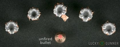 View from up above of fired Hornady .380 Auto (ACP) bullets compared to an unfired round