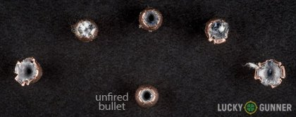 Side by side comparison of an unfired Fiocchi .25 Auto (ACP) bullet vs. the unfired round