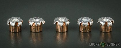 View from up above of fired Speer .380 Auto (ACP) bullets compared to an unfired round