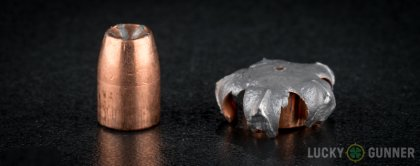 View from up above of fired Speer .357 Sig bullets compared to an unfired round