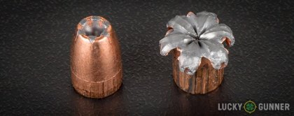 View from up above of fired Speer 9mm Luger (9x19) bullets compared to an unfired round