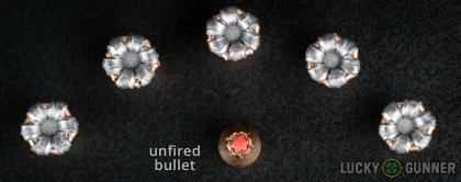 Line-up of Hornady 9mm Luger (9x19) ammunition - fired vs. unfired