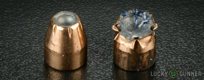 Line-up of Hornady .45 ACP (Auto) ammunition - fired vs. unfired