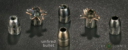 Line-up of Barnes .380 Auto (ACP) ammunition - fired vs. unfired