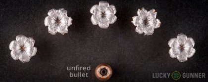 Line-up of Speer 10mm Auto ammunition - fired vs. unfired