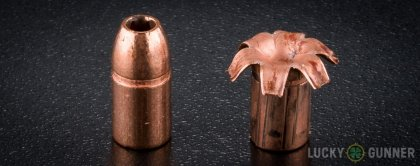 Side by side comparison of an unfired Barnes .357 Magnum bullet vs. the unfired round