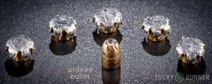 Line-up of Remington .357 Sig ammunition - fired vs. unfired