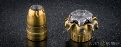 Side by side comparison of an unfired Remington .357 Magnum bullet vs. the unfired round