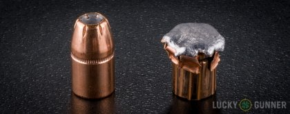 View from up above of fired Hornady .357 Magnum bullets compared to an unfired round