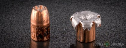 Side by side comparison of an unfired Speer 10mm Auto bullet vs. the unfired round