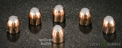View from up above of fired Corbon .380 Auto (ACP) bullets compared to an unfired round