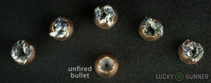 Line-up of SIG SAUER .45 ACP (Auto) ammunition - fired vs. unfired