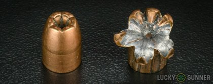 Side by side comparison of an unfired Winchester .45 ACP (Auto) bullet vs. the unfired round