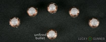 Line-up of Corbon .380 Auto (ACP) ammunition - fired vs. unfired