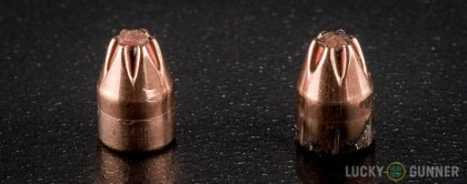 Image displaying fired .25 Auto (ACP) rounds compared to an unfired bullet