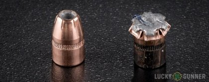 Side by side comparison of an unfired Black Hills Ammunition .32 H&R Magnum bullet vs. the unfired round