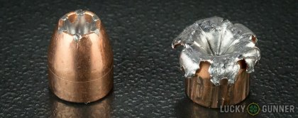 Line-up of Speer .380 Auto (ACP) ammunition - fired vs. unfired