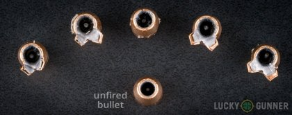 Line-up of Federal .38 Special ammunition - fired vs. unfired