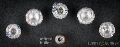 Line-up of Winchester .38 Special ammunition - fired vs. unfired